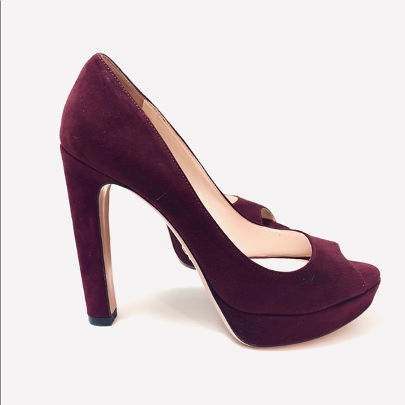 ff421a0c1 Prada Shoes | Suede Deep Purple Peep Toe Pumps Heels 38 | Poshmark